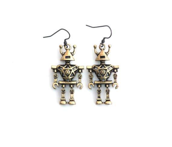 Geeky Moms Robot Earrings